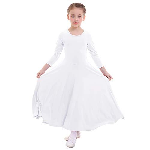 FYMNSI Bambina Liturgico Danza Vestito Ragazze Tinta Unita Manica Lunga Swing Lungo Maxi Gonna Lirico Culto Costume Tunica Abbigliamento da Ballo Balletto Bianco 5-6 Anni