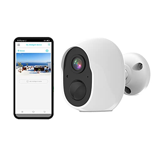 ZOYHYOZ Wireless WiFi Security Camera with Motion Sensor, 1080P HD Video Outdoor Camera with AP Mode 135° Angle View Camera, 2-Way Audio, Waterproof, Spotlight, SD/Cloud (White A)