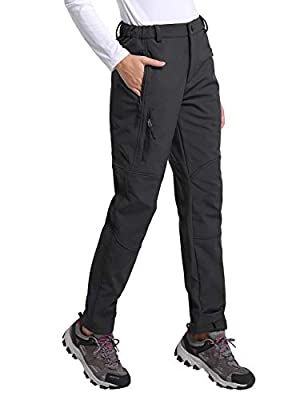 BALEAF Women's Hiking Fleece-Lined Ski Pants Windproof Water-Resistant Outdoor Insulated Soft Shell Black L