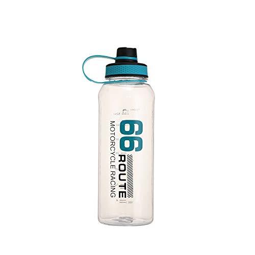 Botella de agua deportiva con plástico de PC, 1,5 l, portátil, de plástico, ecológica, con tapa abatible a prueba de fugas, botella reutilizable para gimnasio, yoga, correr, acampar al aire libre