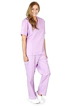 M&M SCRUBS Women Scrub Set Medical Scrub Top and Pants XS Lilac