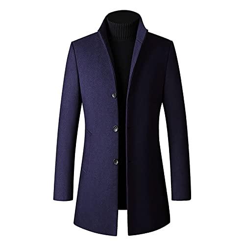 cappotto uomo 100 lana WOOHUI Cappotto Lungo Invernale da Uomo Trench in Lana Giacca Spessa Cappotto a Monopetto Giacca a Vento Parka