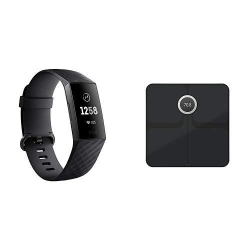 Fitbit Charge3 フィットネストラッカー Black/Graphite +スマート体重計 Aria2対応 Black日本正規品セット