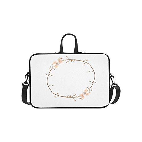 Laptop Shoulder Bag Messenger Bag Case Notebook Handle Sleeve Neoprene Soft Carring Tablet Travel Case, Romantic Pastel Vintage Pressed Flower Circle Laptop Handbags 14'