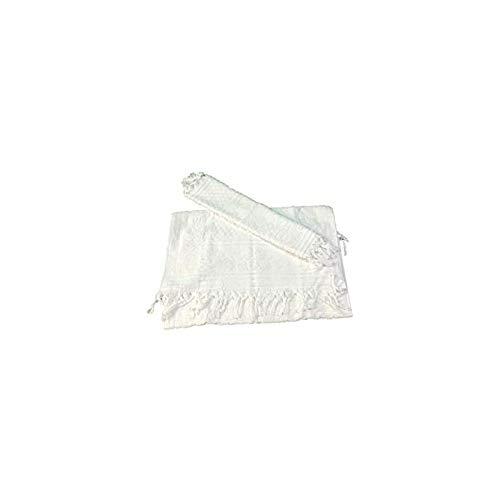 Par de esponjas con flecos de puro algodón de calidad Art. Raffy (blanco)