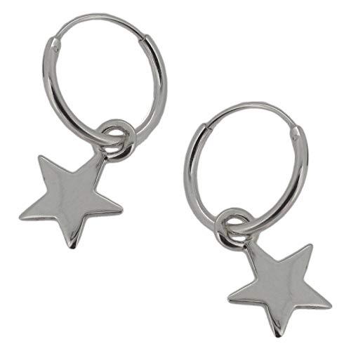 Pendientes de aro con colgante de estrella, plata de ley, 12 mm