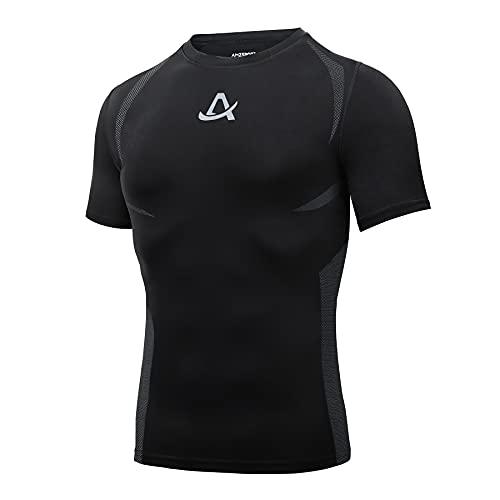 AMZSPORT Camiseta de Compresión para Hombre Camiseta de Manga Corta para Deportistas Correr Gimnasio, Negro M