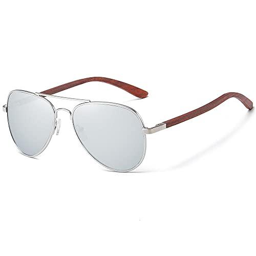 WQZYY&ASDCD Gafas de Sol Gafas De Sol Clásicas De Madera Aviador con Montura De Metal, Gafas De Sol De Madera para Hombres, Gafas De Sol De Lujo para Conducción De Metal, Plateado