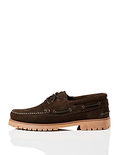 Marque Amazon - find. Chaussures bateau en cuir, Homme, Braun (Marron), 44 EU