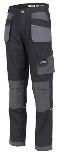 JCB Werkkleding D+IM/32 Trade Plus Rip Stop Broek, Regular Leg, Maat 32, Zwart/Grijs