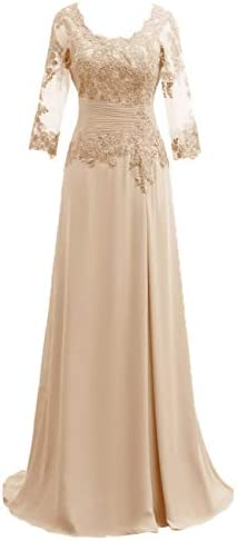 Mother of The Bride Dress with Long Sleeves Chiffon Mother Dress Lace Formal Evening Gowns for product image