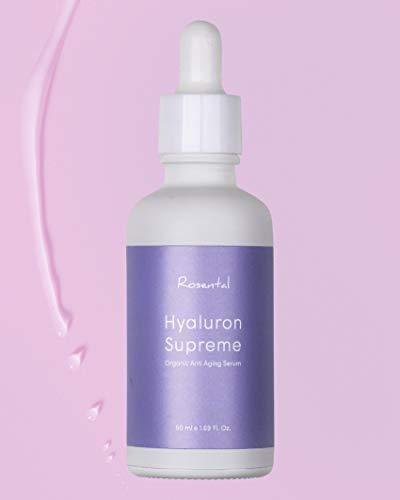 ROSENTAL ORGANICS ® Hyaluron Serum (50ml), Hochdosierte BIO Hyaluronsäure, Feuchtigkeitspflege für das Gesicht, Naturkosmetik, 100% NATÜRLICH