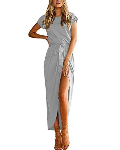 YOINS Sommerkleid Damen Lang Maxikleider für Damen Strandkleid Sexy Kleid Kurzarm Jerseykleider Strickkleider Rundhals mit Gürtel Langarm,EU40-42/M,Grau