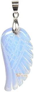36mm Hand Carved gemstone angel wing pendant bead 1.4