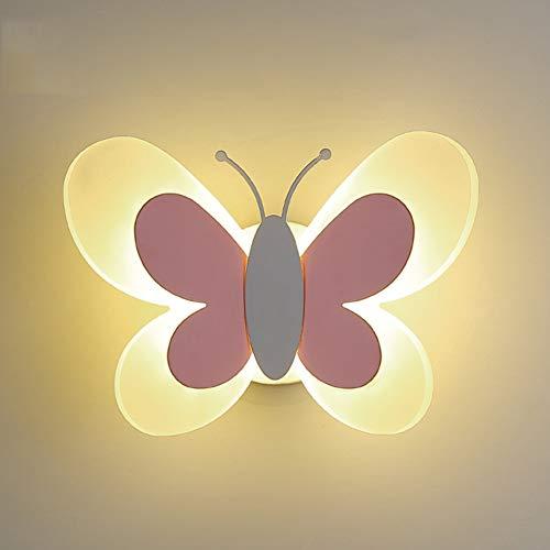 AOKARLIA Lampada da Parete Bambino LED Moderno Applique da Parete Adorabile Forma di Farfalla Creativo Lampada da Comodino Cartone Animato Acrilico Luce della Camera da Letto,B,Warmlight15W