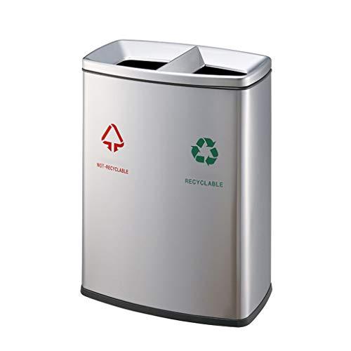 Papelera Doble barril Contenedores de reciclaje de residuos Acero inoxidable Clasificación Cubos de basura al aire libre Grandes 2 en 1 Bote de basura Parque comunitario Parque de la carretera Galón