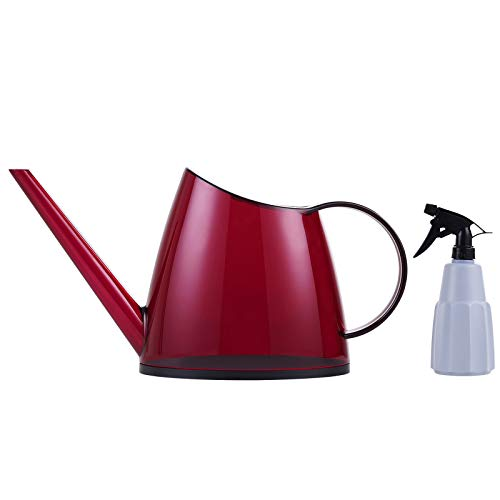TDHDIKE Indoor Watering Can Long Spout, Nordic Style Garden Small Watering Cans with a Plant Mister Spray Bottle for Watering Plants and Potted Flowers (Red)