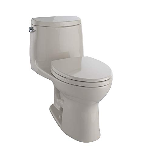 TOTO MS604114CEFG#03 UltraMax II One-Piece Elongated 1.28 GPF Universal Height Toilet with CEFIONTECT, Bone