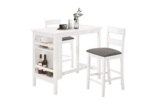 Best Quality Furniture 3pc Counter Height Set (1 Table + 2 Chairs), White