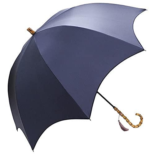 [マコッカ] 完全遮光 UV遮蔽率99.9%以上 晴雨兼用 日傘 タッセル付き 長傘 58cm ネイビー