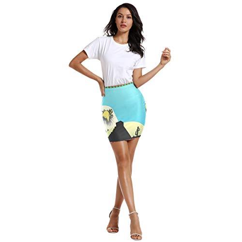 FANTAZIO Falda de cintura elástica para mujer con águila mexicana por encima de la rodilla 1 48
