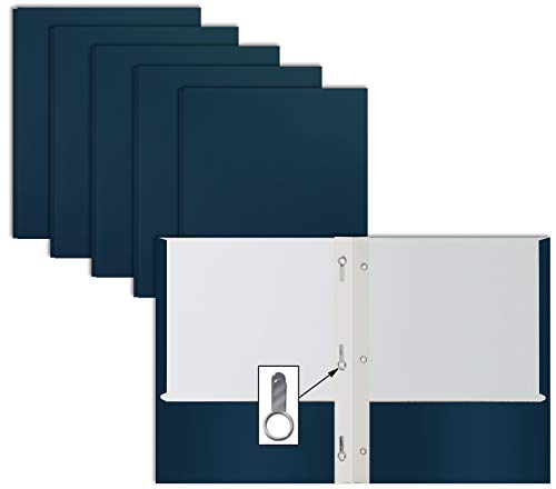Navy Blue Paper 2 Pocket Folders with Prongs, 50 Pack, by Better Office Products, Matte Texture, Letter Size Paper Folders, 50 Pack, with 3 Metal Prong Fastener Clips, Dark Blue