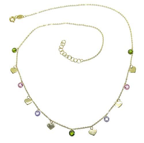 Collar de moda de oro amarillo de 18k con 6 corazones de oro de 5mm y 7 circonitas de color de 5mm con cadena mini forzada de 45cm para mujer.