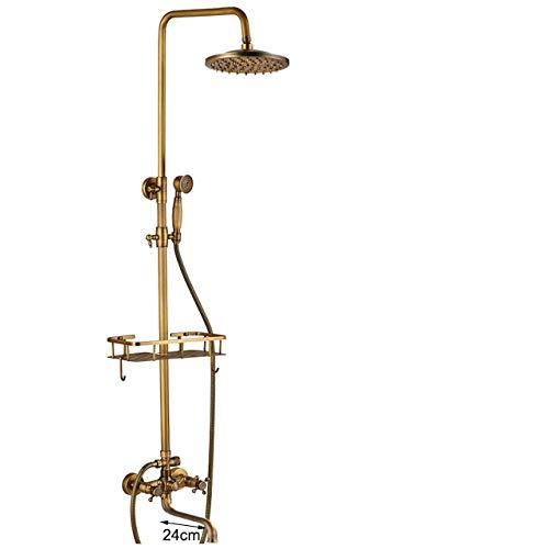 RWJFH Sistema de Ducha Conjunto de Ducha de bañera de latón Antiguo montado en la Pared Grifo de Doble manija con Estante para Productos básicos Caño Largo Mezcladores de Ducha de baño Lluvia, caño