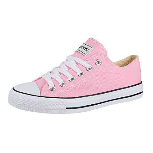 Elara Unisex Sneaker Low top Turnschuh Textil Chunkyrayan 36-46 01-A-Pink-39