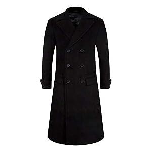 メンズ コート メルトン チェスターコート 冬 中綿 超ロング 通勤コート ビジネスコート ブラック XL(日本XXXLに相当)