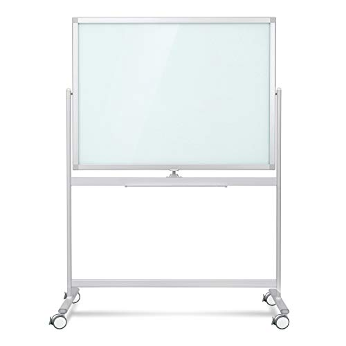 Mobile Glass Whiteboard- Dry Erase Glass Board -48x36 Large Rolling Glass Board Planner with Stand on Wheels-Includes 12 Markers,1Eraser