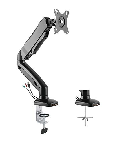 Rocelco Premium Desk Computer Monitor Mount with USB 2.0 and Audio Port - Fits Single 13' - 27' LED LCD Flat Screen - Pneumatic Full Motion Assist Adjustable Arm - Grommet and C Clamp - Black (R MA1)