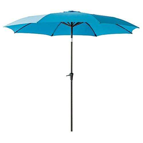 FLAME&SHADE 10 ft Outdoor Patio Umbrella with Tilt - Aqua Blue