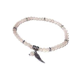 amoraVENDI Rosenquarz Perlen-Armband 4 mm mit Engelsflügel und Perle
