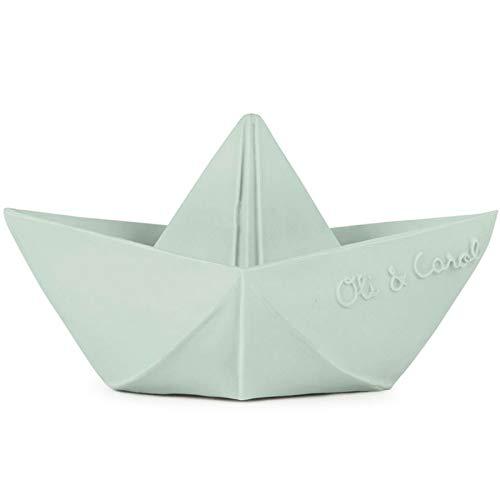 Oli & Carol - Juguete Baño de Caucho Natural, Barco Origami, Menta, 11 cm