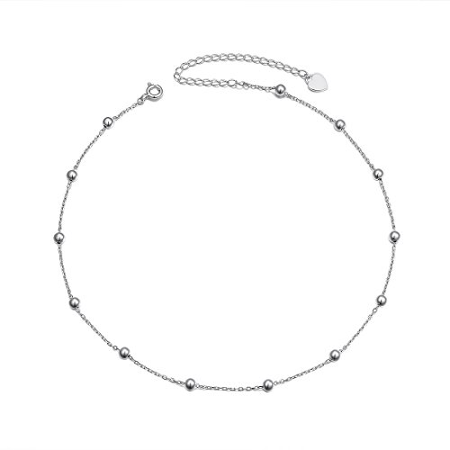 Sterling Silver Jewelry Beads Style Yard Choker Necklace Pendant Disc Chain Statement Necklace For Women Girls