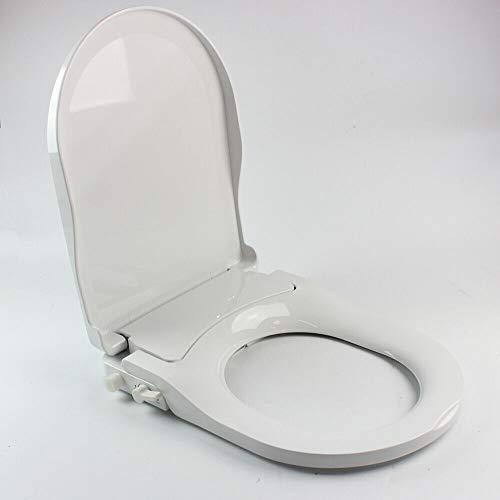 Sedile per WC Bidet Non Elettrica con Attacco per Ugello Doppio con Acqua Fresca Spray Autopulente (Forma D)
