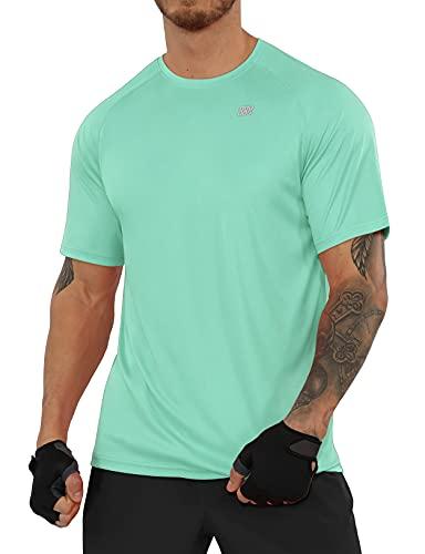 ODODOS - Camiseta de manga corta para hombre con protección solar UPF 50+ SPF Athletic Tee senderismo pesca entrenamiento Tops, M, Verde (Mint)