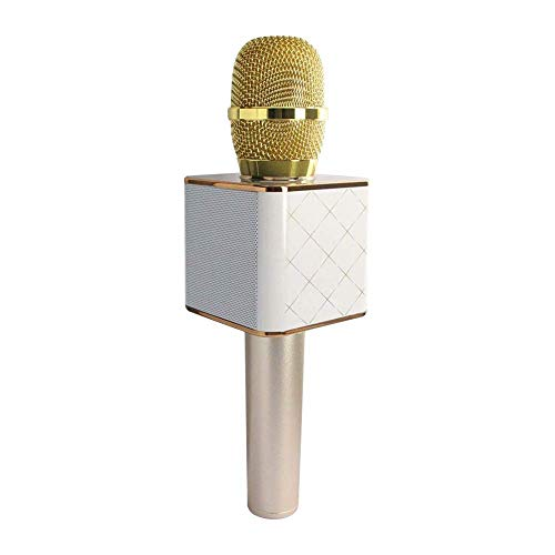 BigPlayer Q7 Handheld Wireless Mike | Multi-Function Bluetooth Karaoke Singing Mic with Microphone Speaker for All Smart Phones (Gold), Standard