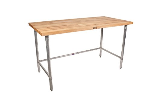 John Boos HNB18 Maple Top Work Table with Galvanized Steel Base and Bracing, 120″ Long x 36″ Wide x 1-3/4″ Thick