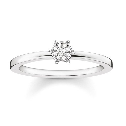 Thomas Sabo Damen-Ring Glam & Soul 925 Silber Diamant (0.05 ct) weiß Gr. 52 (16.6) - D_TR0012-725-14-52