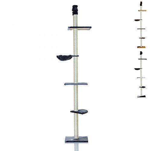 LCP XXL Katzenbaum Kratzbaum Kletterbaum Deckenhoch, 240-270 cm Höhe, 8 cm Dicke Sisal Säulen, Grau