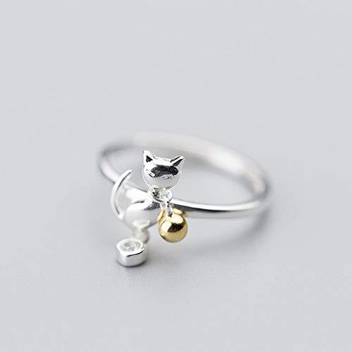 PRAK Damen Ring 925 Sterling Silber Verstellbar,Katze Tier Mit Bell Finger Ringe Für Frauen Schmuck Geschenk Geburtstagsgeschenk Student Style Bankett Wesentliche Kleidung Passende Geschenk