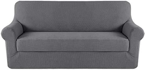 Mazu Home - Juego de sofá elástico (2 piezas, funda de cojín, sofá, juego de muebles (funda inferior y funda de cojín), un total de 3 piezas, funcional textura de lujo jacquard (salvia)