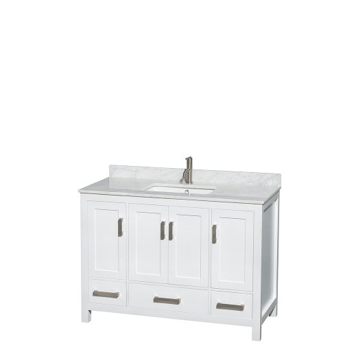 Wyndham Collection Sheffield 48 inch Single Bathroom Vanity in White, White Carrara Marble Countertop, Undermount Square Sink, and No Mirror