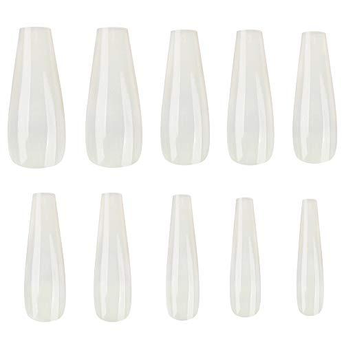 Ebanku 600 Stück Ballerina Särge Künstliche Nagel Fingernägel Nagelspitzen vollständiger Abdeckung in 10 Größen, Falsche Nägel Tips für DIY-Nagelkunst und Nagelstudios(Natürliches Weiß)