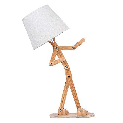 Leuchten Holz Schreibtischlampe mit Retro Lampenschirm DIY Flexible Schwinge Arm Beistelltisch Leuchte für Kinder Jungen Schlafzimmer Wohnzimmer