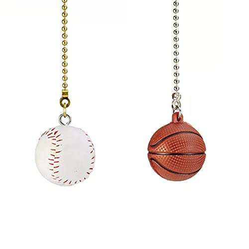 TWDRTDD Ceiling Fan Pull Chain Extension,12 inch Baseball Basket Ball Designed Pull Chain Extension Replacement for Lightings and Ceiling Fans (Brass Wood, 2) (Size B)