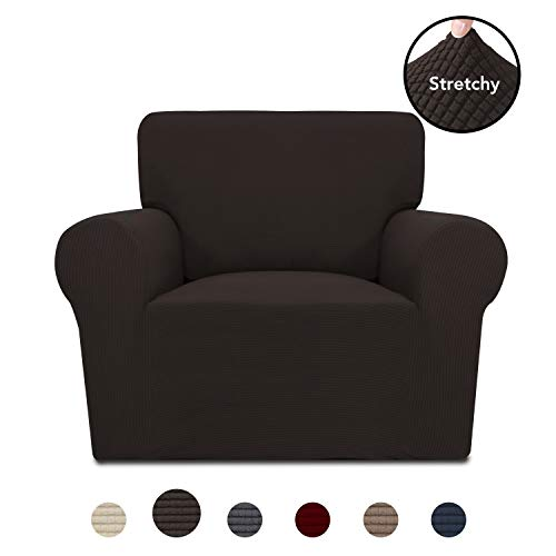 PureFit Stretch Chair Sofa Slipcover – Spandex Jacquard Non Slip Soft Couch Sofa Cover Washable Furniture Protector with Non Skid Foam and Elastic Bottom for Kids Chair Chocolate
