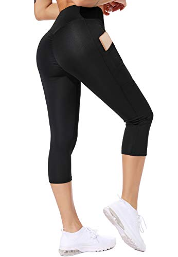 CROSS1946 Capri da Donna Sport Leggins Sportivi 3/4 con Tasche Vita Alta Cropped Pantalone Sportivo Pantaloni Collant alla Caviglia Yoga Pants Fitness Fitness Gym Corsa, A-Nero XL